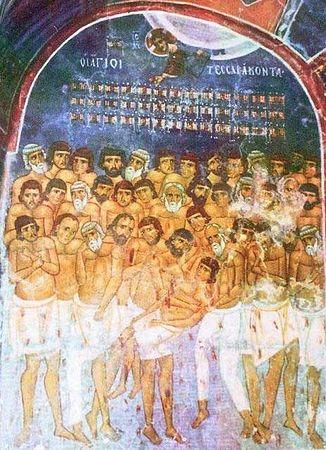 22 марта н.ст./ 9 марта ст.ст. - Церковь празднует память 40 мучеников, в Севастийском озере мучившихся.